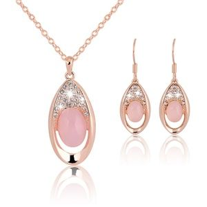 LUOTEEMI Sterling Silver Cystal Jewelry Set